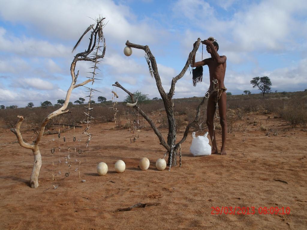 Old ways of making jewelry and bone burning Kalahari